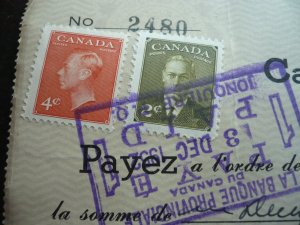 Canada - Revenue - KGVI Issue Stamps on cheque dated 1952