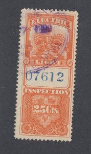 Canada Revenue Electric Light Stamp #FE1-25c Used F/VF Guide Value = $35.00