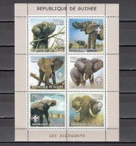 Guinea MNH S/S Elephants 2002 6 Stamps