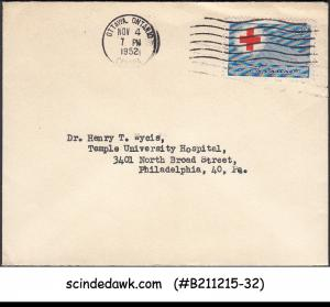 CANADA - 1952 ENVELOPE TO USA WITH RED CROSS STAMP