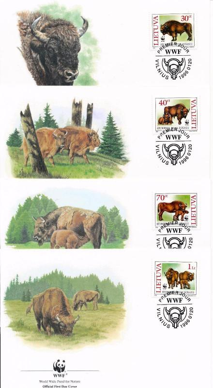 [54186] Lithuania 1996 Wild animals Mammals WWF Wisent FDC 4 covers