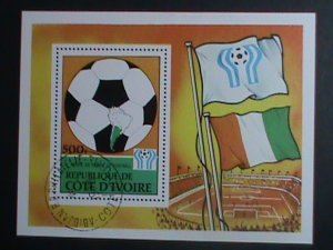 Ivory Coast Stamp-1978-SC#471-11th World Cup Soccer Argentina'78  CTO-S/S