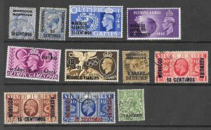 Great Britain Offices Morocco Lot of 11 Different M & U 2018 CV $7.35