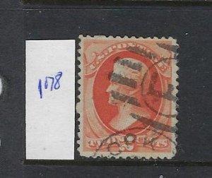 US #178  1875 JACKSON-  2  CENT (VERMILION) - PERF 12- USED