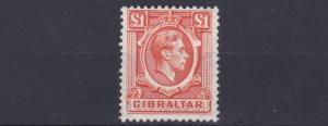 GIBRALTAR  1938 - 51       SG   131     £1   ORANGE      MH    CAT £42