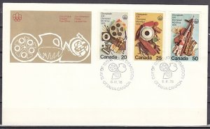 Canada, Scott cat. 684-686. Olympics-Fine Arts issue. First day cover. ^