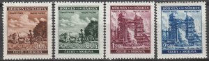 Stamp Germany Bohemia Czechoslovakia Mi 075-8 Sc 56-9 1940 WWII Farm Factory MH