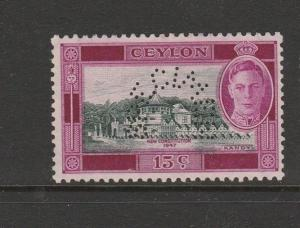 Ceylon 1947 New Constitution 15c perf SPECIMEN MM SG 404s