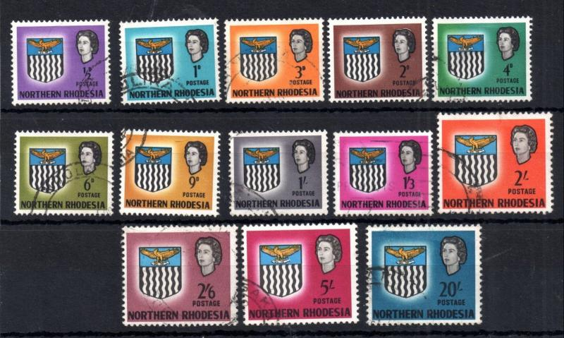 Northern Rhodesia 1963 fine used set SG75-88 (10/- missing) WS11096