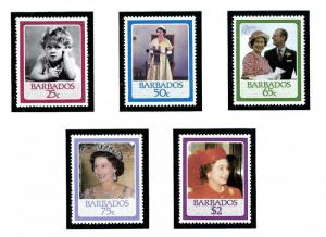 Barbados 675-79 MNH 1986 QEII Birthday