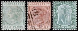 Montserrat Scott 5, 7, 12 (1884-1903) Mint/Used H F-VF, CV $79.65 C