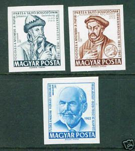 HUNGARY MAGYAR  Scott 1455-7 imperfs CV$4.50 1962