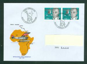 Switzerland. Flight Cover 1977. Zurich-Nairobi. Aviation Pioneer. Pair,Sc# 620.