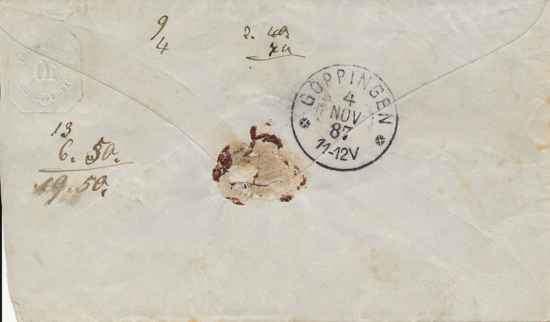 Cover Germany 1888 Wurtt Post Wurttemberg Local