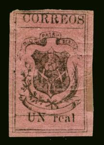 DOMINICAN REPUBLIC 1867 COAT OF ARMS  Un real magenta  Sc# 25 mint MH -Very RARE