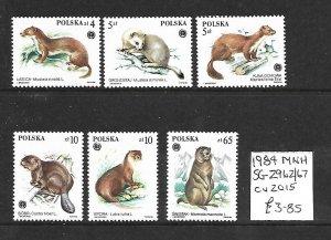 Poland MNH 2962-7 Mammals Fur Animals 1984 SCV 3.85