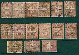 Belgium 1924/ 27 range of 15 revenue issues as illustrated diff rates FU Stamps