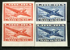 Liberia Stamps # C61-2 XF OG NH Imperf Pairs