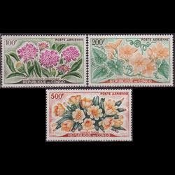 CONGO PR. 1961 - Scott# C2-4 Flowers Set of 3 NH