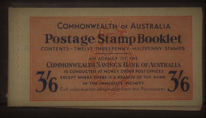 AUSTRALIA 1952 KGVI 31/2D BOOKLET 3/6 WITH WAXED INTERLEAVES MNH **