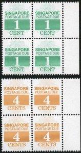 SINGAPORE SGD21/2 Post Due 1989 1c and 4c U/M Marginal blocks of 4