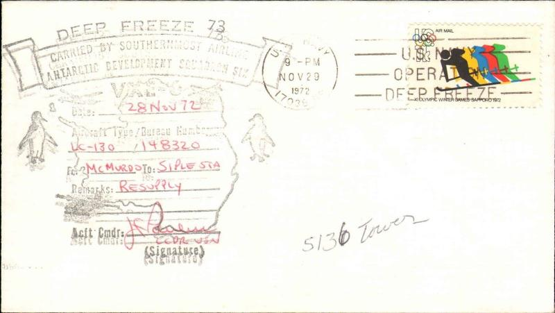 1972 US NAVY ANTARCTIC VXE-6 FLIGHT INFO McMURDO TO SIPLE CACHET + SIGNED