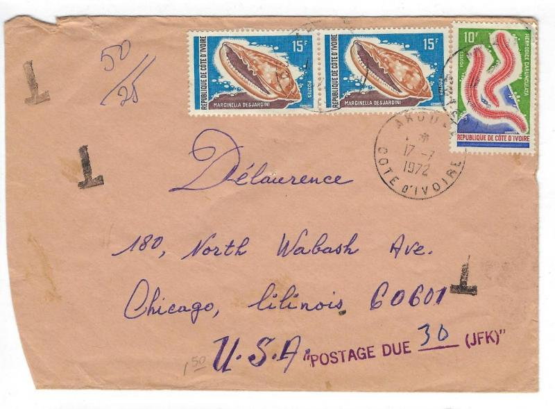 1971 Ivory Coast To USA Cover With Postage Due (EE77)