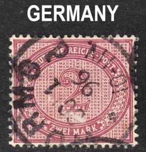 Germany Scott 36b dull violet purple F+ used with a splendid SON WORMS cds.