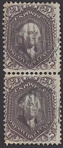 US Stamp #70 Vertical Pair SSCV $625. Proof-like Impression