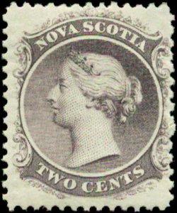 Canada, Nova Scotia  Scott #9a SG #11 Mint Hinged Yellow Paper