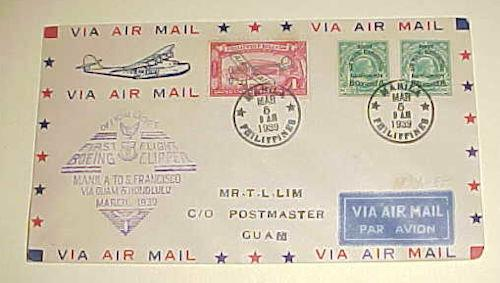 PHILIPPINES FLIGHT #122A 1939 MARCH 6 B/S GUAM