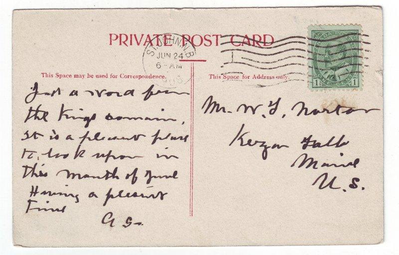 Z617 1908 canada market slip boats harbour st john n.b. king stamp postcard