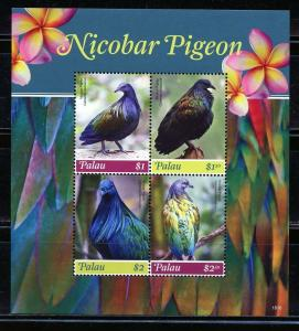 PALAU 2019 NICOBAR PIGEON SHEET OF FOUR MINT NEVER HINGED