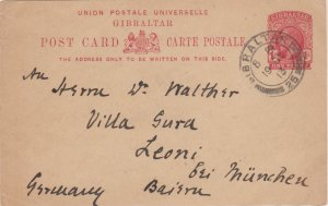 Gibraltar 1d KGV Postal Card 1913 Gibraltar, 25 to Leoni, Germany. Small tear...