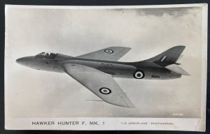 1954 London England RPPC Postcard Cover To Somerset Hawker Hunter RAF Airplane