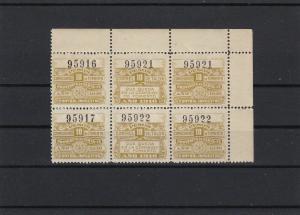 Argentina 1916 Mint Never Hinged 10 Pesos Revenue Stamps Block Ref 27746