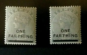 Bermuda: 1901 One Farthing surcharge, both listed shades, MLH