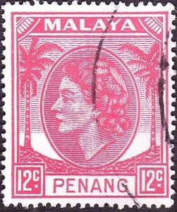 MALAYA PENANG 1955 12c Rose-Red SG35 Fine Used