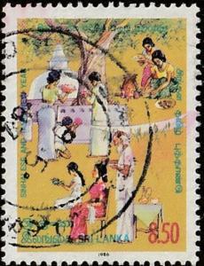 Sri Lanka stamp, cott# 789, , multcolor, people, New year, tree,  #M528