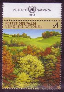 UN Vienna Sc# 80 Inscribed Survival of the Forests MNH