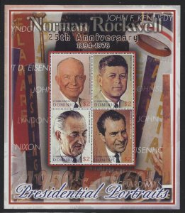 Dominica 2004 Rockwell Portraits of US Presidents S/S Sc# 2458 NH