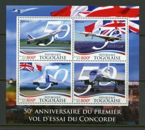 TOGO 2019 50th ANNIVERSARY OF THE FIRST CONCORDE FLIGHT SHEET MINT NH