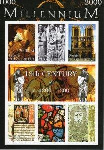 Turkmenistan 1999 Notre Dame-St.Francis- Millennium 13th.Cent.Shlt IMPERF.MNH