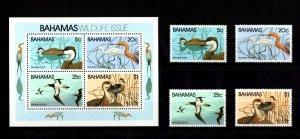 BAHAMAS - 1981 - BIRDS - DUCKS - REDDISH EGRET - TREE DUCKS + MINT NH SET + S/S!