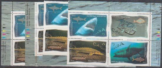 Canada #1644a Mint MS of Imprint Blocks VF-NH 1997 45c Ocean Water Fish -