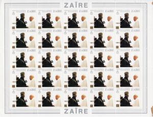ZAIRE 1990 Pope John-Paul II-P.Mobuto ovpt.100Z Mi.1003 Sheetlet (25)