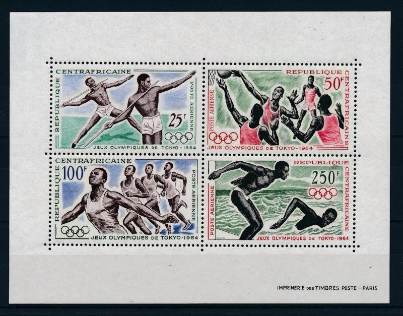 [61127] Central African Rep. 1964 Olympic games Basketball Swimming MNH Sheet