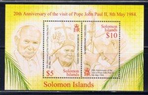 Solomon Islands MNH S/S 970 Pope John Paul II SCV 8.00