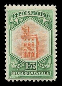 SAN MARINO Sc# 125, 1929 1.75 lire GOVERNMENT PALACE, MINT F-VF NH