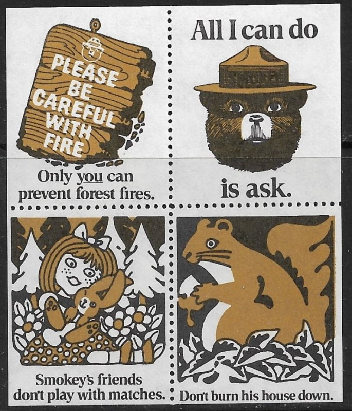 SMOKEY THE BEAR ONLY YOU CAN PREVENT FOREST FIRES Squirrel Label Block MNH